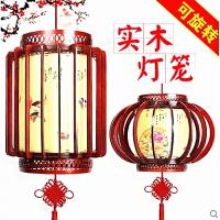 实木灯笼led旋转仿古pvc中式吊灯客厅阳台装饰挂件木质宫灯
