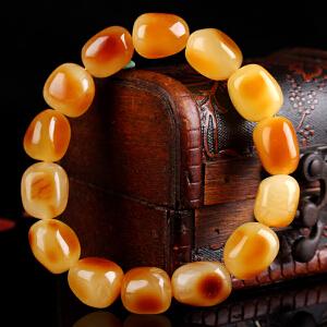 蜜蜡红皮原石手串 直径14mm