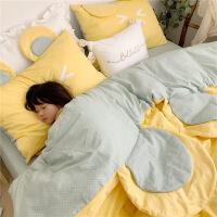 【官方旗舰店】ins全棉可爱萌卡通么么熊少女纯棉床上四件套网红款床单儿童床品