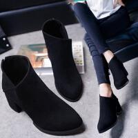 2018秋冬新款短筒马丁靴潮女短靴高跟粗跟尖头百搭加绒踝靴及裸靴