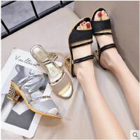 女士新款时尚粗跟拖鞋中跟外穿水钻鞋鱼嘴凉拖高跟鞋