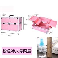 大容量收纳包美容纹绣半跟彩妆工具箱纹眉手提化妆美甲箱 粉红色 特大号两层粉色