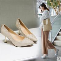 单鞋女银色性感高跟鞋闪粉尖头细跟春新款宴会晚礼服新娘婚鞋