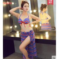 韩版时尚条纹舒适 性感比基尼小胸大胸钢托聚拢温泉泳衣女三件套