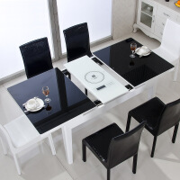 钢化玻璃实木餐桌伸缩餐桌椅组合长方形餐桌电磁炉小户型现代简约 +6皮椅