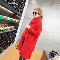 针织开衫女2018春装新款女装时尚V领麻花口袋中长款韩版毛衣外套 红色 均码
