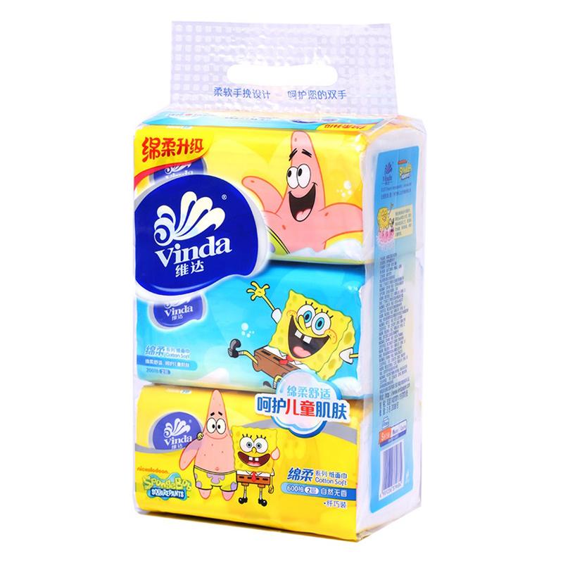 维达 绵柔系列抽纸海绵宝宝面巾纸 2层 200抽*3包 自营正品 货到付款