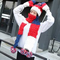 帽子女冬天潮毛线帽子围巾手套三件套装可爱加厚围巾围脖