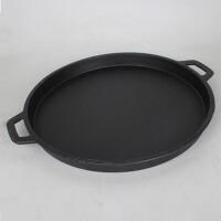 商用家用时尚铸铁烧烤盘33CM商用烤肉盘圆形铁板烧 烤肉锅韩式大烤盘烤锅0