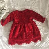 女婴女宝宝新生儿纯棉加绒蕾丝连衣裙子装母女装百日周岁服 酒红色现货 160cm