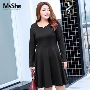 MsShe加大码女装2017新款冬装弹力针织开叉袖收腰连衣裙M1740976