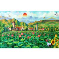 1000片木质拼图定制500中国风油画唯美风景 荷花映日