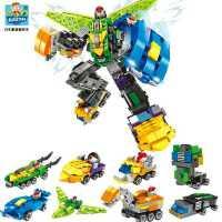 积木梦想三国合体机器人儿童拼装变形金刚男孩子组装玩具