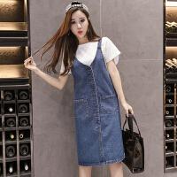 背带裙 女士高腰拼接中长款背带A字裙2020年秋季新款韩版时尚洋气女式街头潮人女装牛仔裙