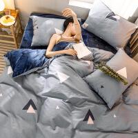 加厚棉绒四件套A棉晶绒床上用品套件1.5m学生被套床单