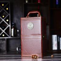 红酒礼盒皮盒拉菲葡萄酒包装盒子双支装皮箱皮质2只装红酒礼品盒 木纹色带酒具 拉菲