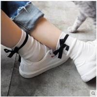 蝴蝶结袜子女春季可爱中筒袜纯色条纹女袜日系运动学院风横杠袜