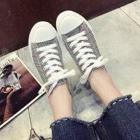 新款小白帆布鞋女鞋子 户外透气学生布鞋女士板鞋 韩版原宿ulzzang格纹鞋子