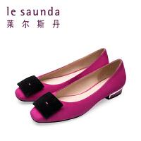 【顺丰包邮,大牌价:351】莱尔斯丹 春季新款温柔风方头方扣平跟浅口女单鞋 9T25021