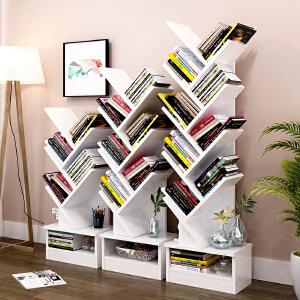 亿家达树形书架落地书柜简约现代组合书架带柜子创意书架简易书橱