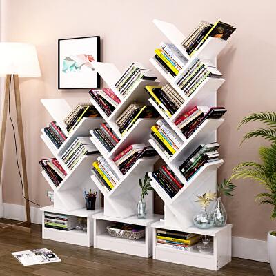 亿家达树形书架落地书柜简约现代组合书架带柜子创意书架简易书橱不用书立 带收纳