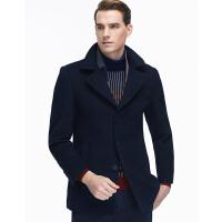 七匹狼毛呢大衣 男士冬季时尚休闲西装领毛呢长大衣外套 102(深蓝) 170/88A/L