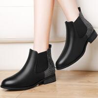 古奇天伦 女靴新款英伦铆钉时尚短靴中跟粗跟女靴圆头套脚中筒靴子女 8531