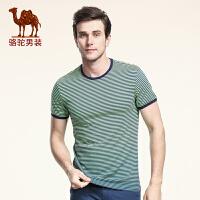 骆驼男装 夏季新款时尚修身条纹圆领休闲短袖T恤衫男休闲上衣