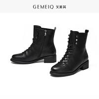 戈美其冬季新款圆头英伦加绒短筒靴子女粗跟中跟舒适时装休闲女鞋