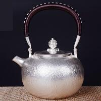 银茶壶锤纹银壶套组足银纯银茶具纯手工日本银壶烧煮水壶990足银烧水壶茶壶茶具纯银功夫茶具