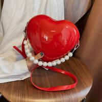 菲姿卓尔2020新款透明包包亚克力爱心包包女桃心形斜挎链条珍珠可爱小包潮