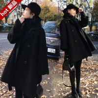 毛呢外套女中长款韩版2018新款赫本风毛呢大衣矮个子斗篷外套女冬 X