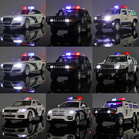 合金警车模型儿童玩具车警察特警车回力前进,发声发光,耐摔耐撞