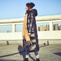 加厚加长款羽绒服女修身欧洲站超长过膝2018冬装新款连帽时尚外套 黑色