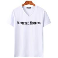 夏季新款青少年男士V领字母男式短袖t恤纯棉半袖韩版潮流上衣02