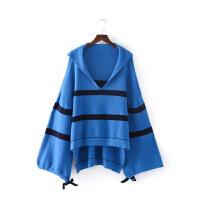 女装秋冬欧美范新款时髦V领宽松条纹灯笼袖针织衫毛衣女