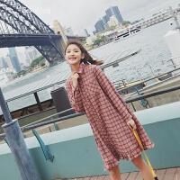 春装2018新款韩版宽松显瘦学生格子中长款长袖连衣裙衬衫裙打底裙 红色格子
