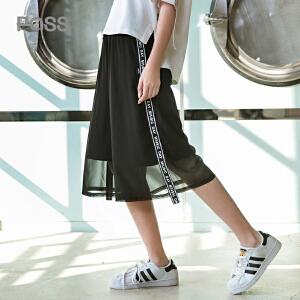PASS2018年新款夏装bf裤子潮原宿风女蕾丝拼接七分裤宽松阔腿裤
