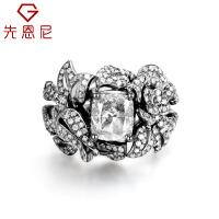 先恩尼18K金异形钻石 豪华群镶个性设计款 女戒 黑金效果礼物定制克拉钻戒