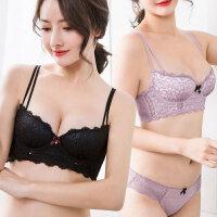 日系内衣女士性感蕾丝聚拢调整型收副乳小胸胸罩上托显胸文胸套装