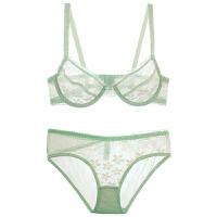 少女美屋性感透明诱惑蕾丝内衣文胸套装薄荷绿胸罩无海绵Bra