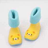 小孩加棉雨靴�和�雨鞋小童保暖加�q加棉女童男童幼�耗z鞋��核�鞋����水靴 加棉