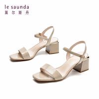 【顺丰包邮,大牌价:339】莱尔斯丹 夏季新款一字扣带粗高跟仙女温柔风女凉鞋AM55101