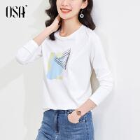 【3折折后价:99元】OSA欧莎秋季新款时尚简约艺术感印花百搭长袖T恤女