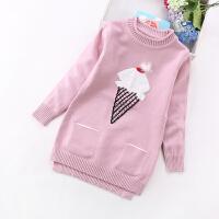 女童毛衣中长款 2017新款韩版中大童针织打底衫 儿童套头毛线衫