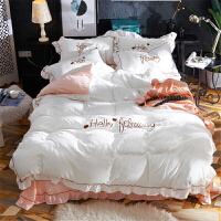 棉公主风床上四件套床罩床裙式带花边床单款少女心被套