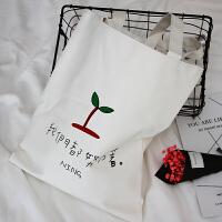 单肩帆布包女韩版文艺女包时尚简约手提包大包购物袋字母学生书包