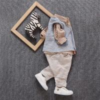 宝宝春秋装三件套1-3岁男婴儿衬衣马甲韩版长袖套装2儿童0衣服 潮