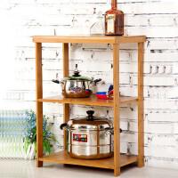 竹山下实木微波炉置物架楠竹厨房收纳架烤箱电器架实木小家具特价