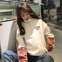 秋冬女装韩版BF风宽松加厚保暖运动撞色长袖无帽套头卫衣外套学生